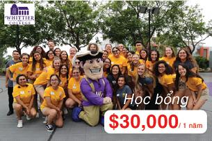 Học bổng du học Mỹ từ Whittier College lên đến $30,000